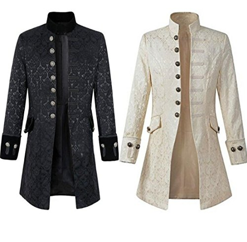 Nobility Baby Mens Velvet Goth Steampunk Victorian Frock Coat (M, White) by Nobility Baby (Image #2)