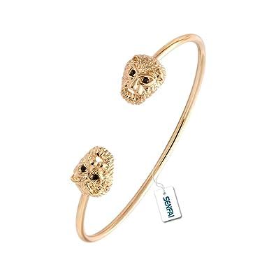 6f612548f43 Amazon.com: SENFAI Gold Silver Rose Gold Lion Head Bracelet Cuff Bangles  Jewelry for Women (gold): Jewelry