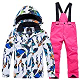 GS SNOWING Boys Girls Ski Jacket and Pants Waterproof Snow Insulated Snowsuit (03Pink, S=H:3.6-3.9ft;W:44-55Lb)