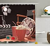 Where to Buy Shower Curtains RHATTOWN Leather Shower Curtain, Small Shower Curtain Set, Ecofriendly Objects of The Film Industry Hollywood Motion Picture Cinematography Concept Shower Curtain
