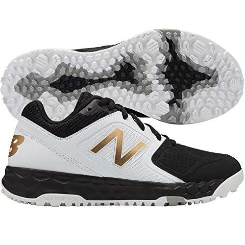 (New Balance Women's Velo V1 Turf Softball Shoe, Black/White, 9 B US)