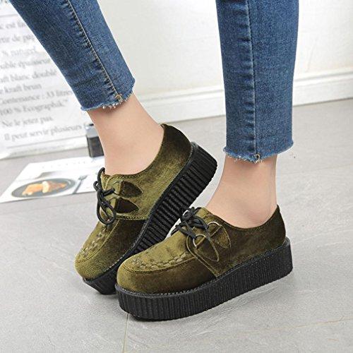 Transer® Damen Flach Schnüren Mokassins Hoch Wasserdichte Plattform Wildleder Warm Herbst Winter Stiefel Schuhe Armeegrün
