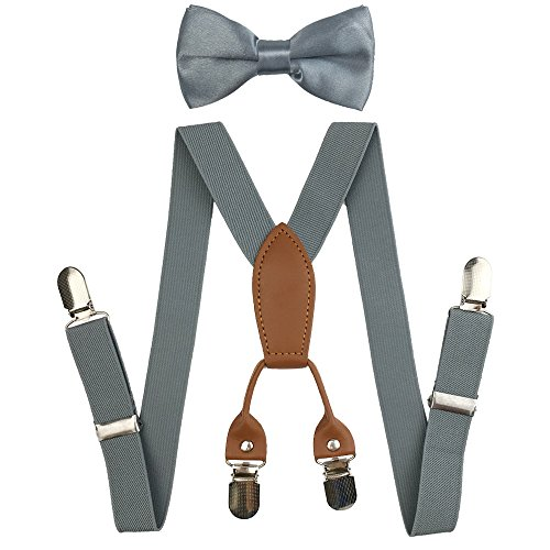 Suspenders Set for Kids, Polyester Material 4 Clips with Bowtie (Gray)