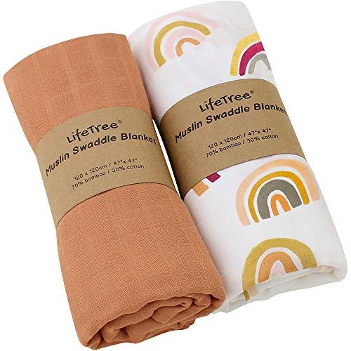 Lifetree Mantas De Muselina Bebe Super Suave Mantas Envolventes De Muselina Bambu Algodon 120x120 Cm Pack De 2