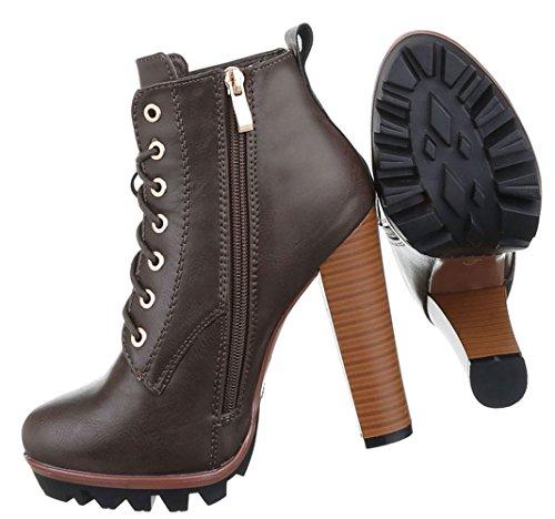 Damen Boots Schuhe Schnür Stiefeletten High Heels Schwarz Braun Grau 36 37 38 39 40 41 Grau