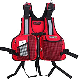 Adult life vest jacket fishing pockets for Fishing vest amazon