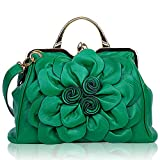 SUNROLAN Women's Evening Clutches Handbags Formal Party Wallets Wedding Purses Wristlets Ethnic Totes Satchel (Dark Green)