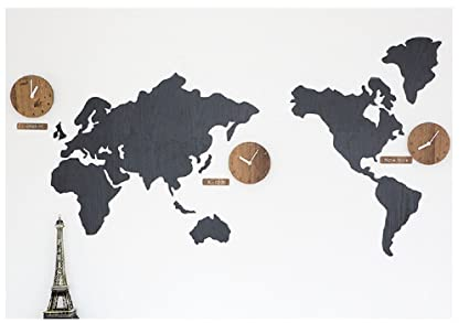 Wooden world map wall clock 3 country time puzzle diy wall silent wooden world map wall clock 3 country time puzzle diy wall silent world clocks gumiabroncs Images