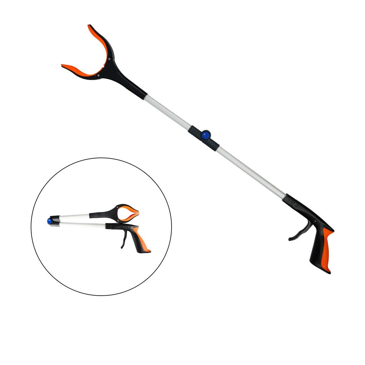 Lakaw 32'' Lightweight Extra Long Handy Trash Claw Grabber, Grabber Reacher Tool, Foldable Litter Picker, Arm Extension, Rubber Head, Rubber Grip, Orange(1 Pack) by Lakaw
