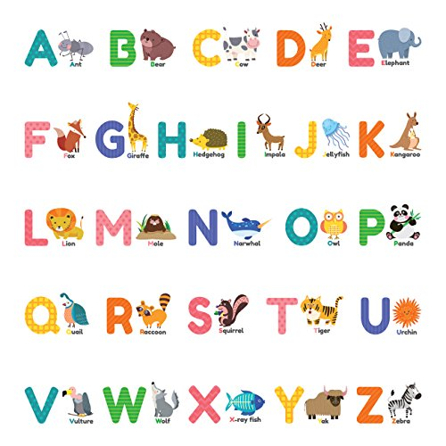 Decowall DS-8014 Colourful Animal Alphabet ABC Kids Wall Stickers Wall Decals Peel and Stick Removable Wall Stickers for Kids Nursery Bedroom Living Room (Small)
