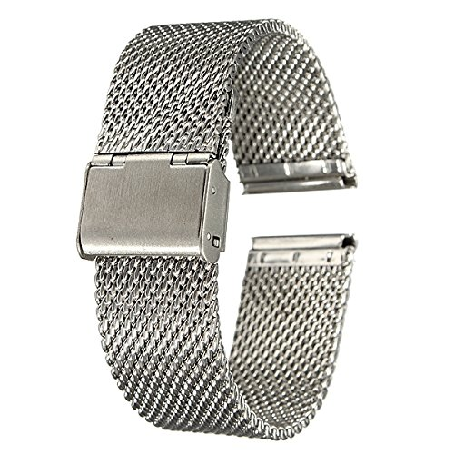Unisex Chainmail - WD Jewelry 18mm 20mm 22mm Unisex Stainless Steel Chainmail Watch Strap Band - (Color: Gold, Size: 18mm)