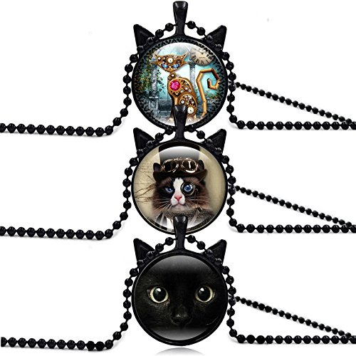 ISAACSONG.DESIGN Black Cat Vintage Steampunk Style Glass Jewelry Pendant Necklace for Women