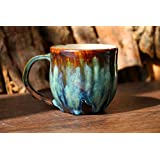 Coffee mug, pottery mug, Psychedelic green mug, 12 Oz, 16 Oz, handmade ceramic mug, coffee lover, coffee mug pottery, unique mug, best gift