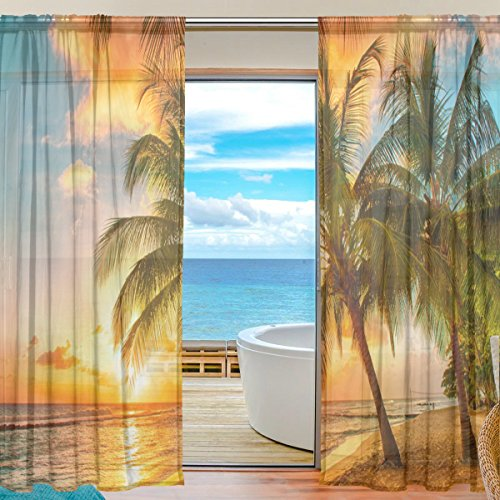 SEULIFE Window Sheer Curtain, Hawaiian Tropical Beach Palm Tree Sunset Voile Curtain Drapes for Door Kitchen Living Room Bedroom 55x78 inches 2 Panels
