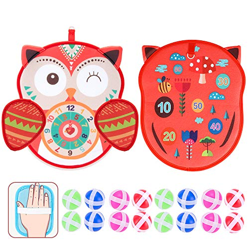 yinsepai Velcro Safe Darts Board Indoor Sports Toy Sticky Balls Classic Fun Gifts(Red owl)