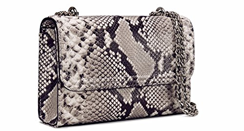 Tory Burch Fleming Convertible Small Leather Shoulder Bag (Natural Snake) (Burch Tory Snake)