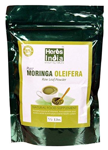 Moringa Powder 8 Ounces(1/2 Pound), Freeze Dried - all Natural, No Preservative, No Chemicals - HerbsIndia