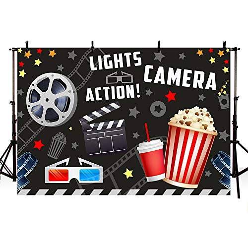 MEHOFOTO Vintage Movie Birthday Party Decorations Banner Photo Studio Booth Background Movie Night Lights Camera Action Dress-up Black Backdrops Props for Photography 7x5ft from MEHOFOTO
