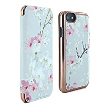 Official Ted Baker® SS17 Folio Style Case for Apple iPhone 7 - Fashion Branded Mirror Case for Professional Women Pretty Flower Floral Print - BROOK - Oriental Blossom