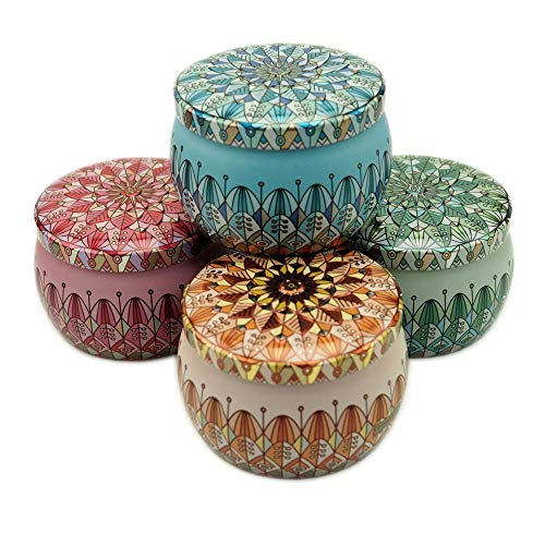 DIY Candle Jars for Making Candles Kit Metal Containers Decorative Stripe Sunflower Pattern Tin for Earphones Collectibles Chocolate-4PCS -