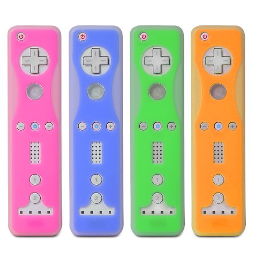 Wii Silicone Skin Cover Case (Fosmon 4 Pack Two-Tone Silicone Skin Case for Nintendo Wii Remote and Nunchuk (Nunchaku) - Blue, Green, Orange, Pink)