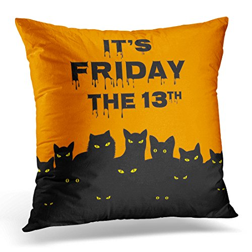 Emvency Throw Pillow Covers Orange Superstition Halloween for Friday 13 with Black Cats Day Decorative Pillow Case Home Decor Square 20
