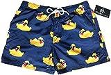 Official Molokai Mens Swim Trunks Quick Dry Elastic Waist Drawstring (Rubber Ducks (Sunglasses), Medium)