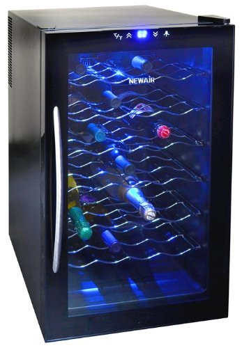 NewAir Silent Wine Cooler 28 Bottle Capacity Freestanding Refrigerator w/Digital Control, AW-280E Black