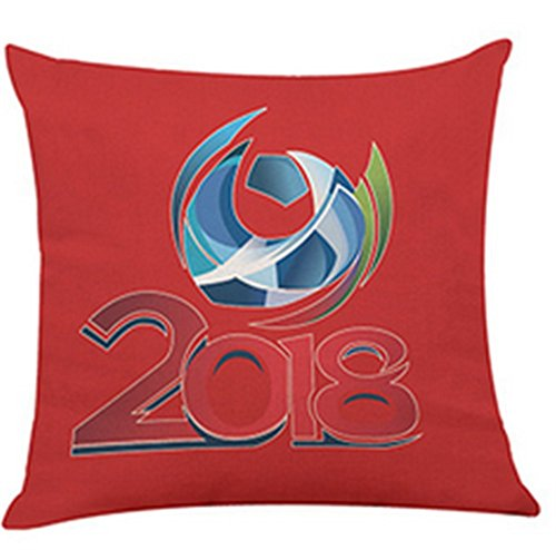 World Cup Throw Pillow Case Mascot Linen Cushion Covers Home Car Soccer Decor 2018 Russia Football Fans Cheerleading Gifts (red2)