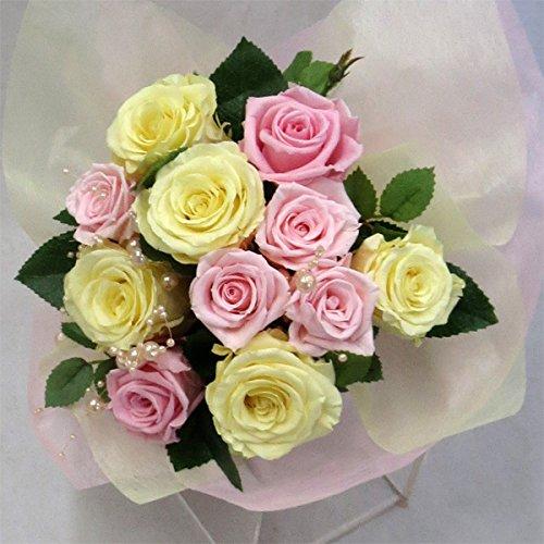 枯れない花 プリザーブドフラワー 花束(誕生日記念日お祝いプロポーズ等に最適) (ピンク&イエロー) B0197V00OS ピンク&イエロー ピンク&イエロー