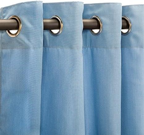 Sunbrella Canvas Capri Blue Resort Spa Home Decor IndoorOutdoor Brass Nickel Grommet Curtain Panels Choose Size