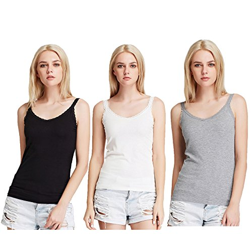 - Liang Rou Women's Ribbed Knit Lace Camisole V-Neck Black/Off-White/Grey M