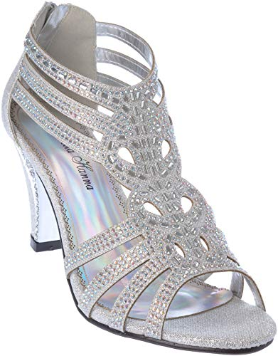kinmi25 Women's Evening Sandal Rhinestone Silver Dress-Shoes Size 6.5