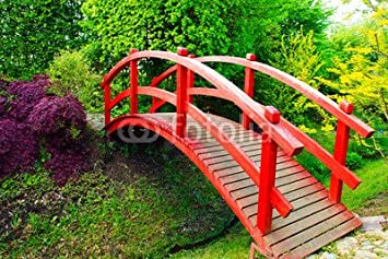 red japanese style garden bridge 65005231 aluminium dibond 80 x 50