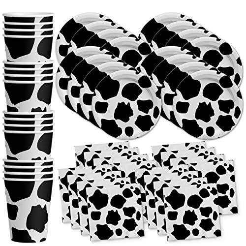 Cow Print Birthday Party Supplies Set Plates Napkins Cups Tableware Kit for 16 -