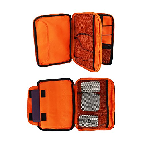 Portable Double Layer Electronic Accessories Organizer Travel Bag for Data Cable, Earphones, IPad Mini, USB, Mobile Phone, Power Bank Large Bag Grey Orange by Softcloudy (Image #5)