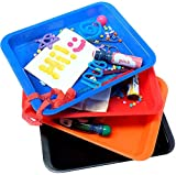 Activity Plastic Tray - Art + Crafts Organizer Tray, Serving Tray, Great for Crafts, Beads, orbeez Water Beads, Painting (Set of 4 - Red, Blue, Orange, Black)