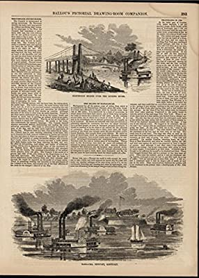 Suspension Bridge Licking Bridge Newport Kentucky 1856 antique engraved print