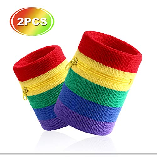 Hoter Sports Thick Solid Color Wristband with Zipper/Wrist Wallet, 1PC/2PCS Pack (Rainbow(2 Pieces))