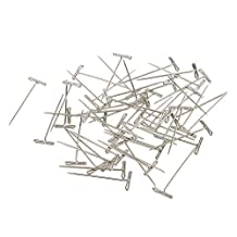 MagiDeal A Box of 50 Pieces T Shape Needles Pins for Wigs Hair Weaving Tools Sewing Crafts 38mm Silver