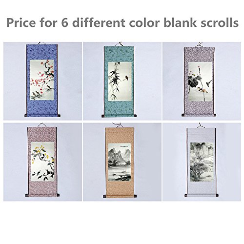 JZ014 Hmayart kakejiku Blank Mounting Hanging Wall Scroll Set for Kanji, Sumi and Chinese Calligraphy (6pcs/Set) (Scroll Size: 11.8