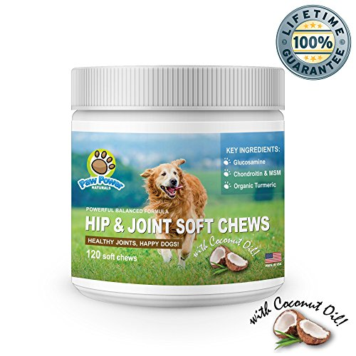 Glucosamine for Dogs | Advanced Hip and Joint Support | With Organic Turmeric, Chondroitin, MSM, Coconut Oil | Supports Healthy Joint Function & Helps with Pain Relief for Your Dog