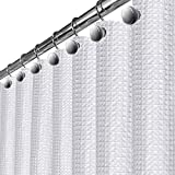 white shower curtain  Waffle Fabric White Shower Curtain - Includes PEVA Shower Liner Mildew Resistant, Soft Touch Waterproof Thick Polyester Decorative Bathroom Curtain, 72 x 72 inch (290 GSM)