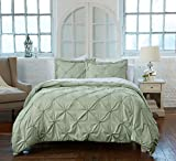 Great Bay Home Signature Pinch Pleated Pintuck Duvet Cover with Button Closure. Luxuriously Soft 100% Brushed Microfiber with Textured Pintuck Pleats and Corner Ties. By (Twin, Frosty Green)