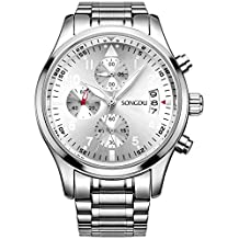 SONGDU Mens Date Sports Multifunction Chronograph Watches Luminous Numerals Stainless Steel
