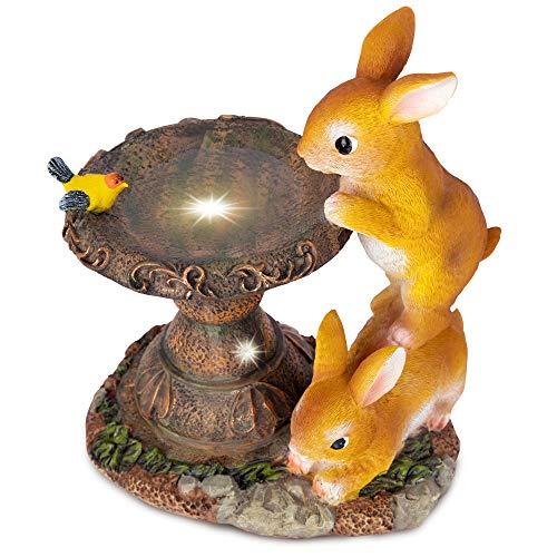 RealPetaled Rabbit Garden Statues and Figurines, Garden Art Outdoor for All Seasons-Garden Decor, Solar Statue with 2…