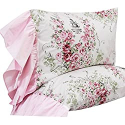 Queen's House Floral Print Pillowcases Shams Pillow Covers Queen Set of 2-Style M