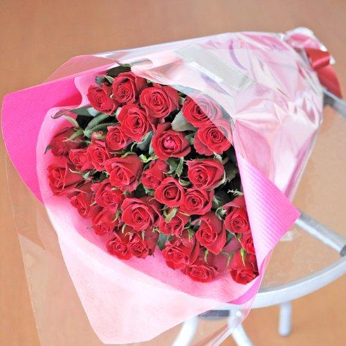 最高級のトップローズを使用した 赤いバラの花束 25本 エーデルワイス 花工房 B00NQMPD9C レッド