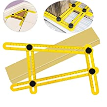 Angle-izer Template Tool, SANJOIN Multi-Angle Ruler Measures All Angles and Forms Angle Template Tool for Handymen, Builders, Craftsmen (Yellow)