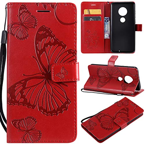 (Moto G7 Case,Moto G7 Plus Wallet Case,SMYTU Premium Emboss Butterfly Flip Wallet Shell PU Leather Magnetic Cover Skin with Wrist Strap Case for Motorola Moto G7,Moto G7 Plus(B-red))